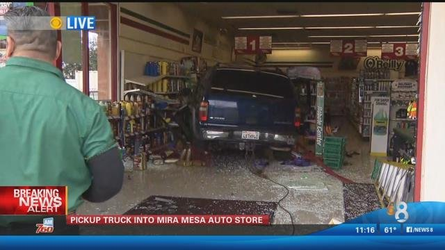 Out of control suv slams into auto parts store cbs news for Worldwide motors san diego ca