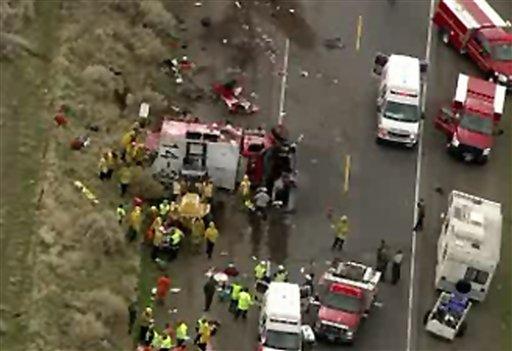 San Diego Honda >> Fire crew truck, car crash north of LA, killing 2 - CBS ...