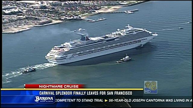 Fire Damaged Carnival Splendor Cruise Ship Leaves San