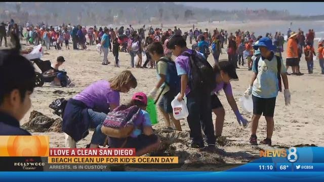 Beach Cleanup For Kid S Ocean Day Cbs News 8 San Diego