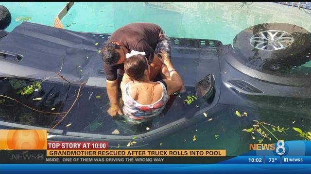 Grandmother rescued after truck rolls into pool in allied for Allied gardens pool
