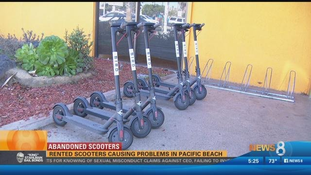 Abandoned Scooters: Rented scooters causing problems in Pacific - CBS News 8 - San Diego, CA ...