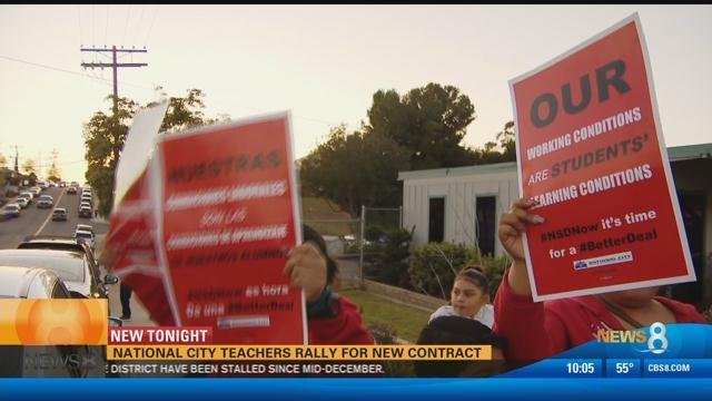 National city teachers rally for new contract cbs news 8 for National motors san diego