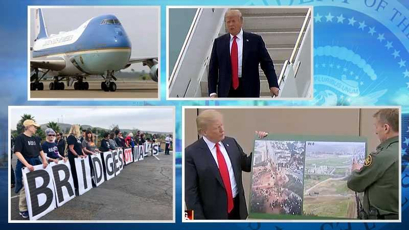 President trump tours border wall prototypes in san diego for Worldwide motors san diego ca