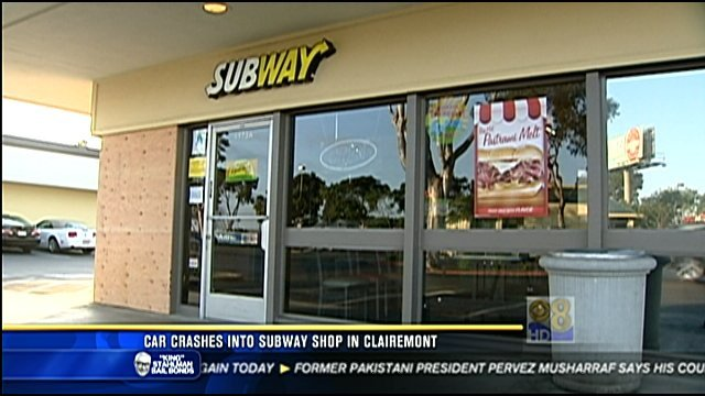 Clairemont Subway Restaurant Closed After Car Slams Into It Cbs News 8 San Diego Ca News
