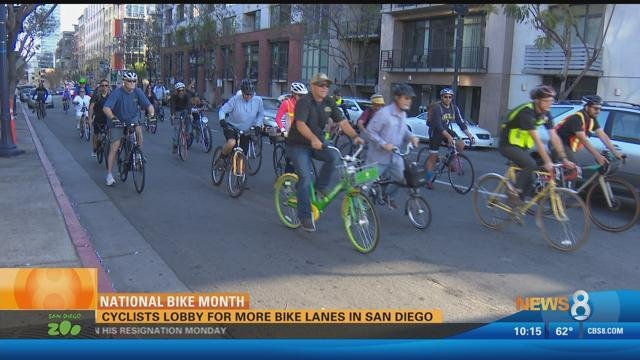 National bike month cyclists lobby for more bike lanes in for National motors san diego