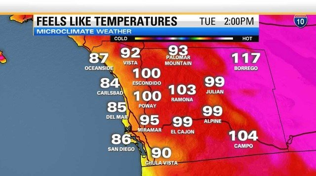 timeless design 0eb28 6c5b5 Extreme heat and high surf are expected to peak Tuesday and Wednesday,  bringing triple digit temperatures throughout San Diego County except near  the ...