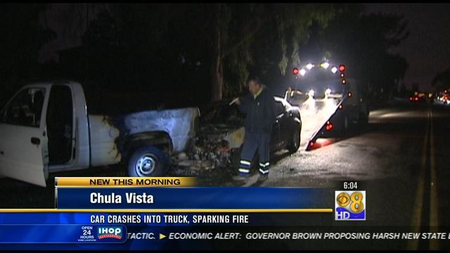 car crash in vista ca car crashes into truck sparking in chula vista cbs