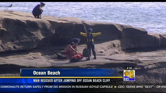 Man rescued after jumping off Ocean Beach cliff - CBS News ...