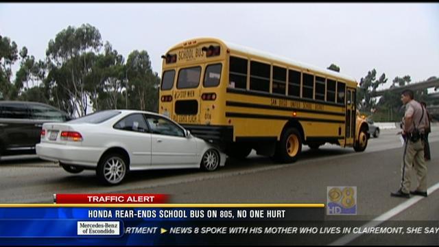 Car Rear Ends School Bus On I 805 Cbs News 8 San Diego