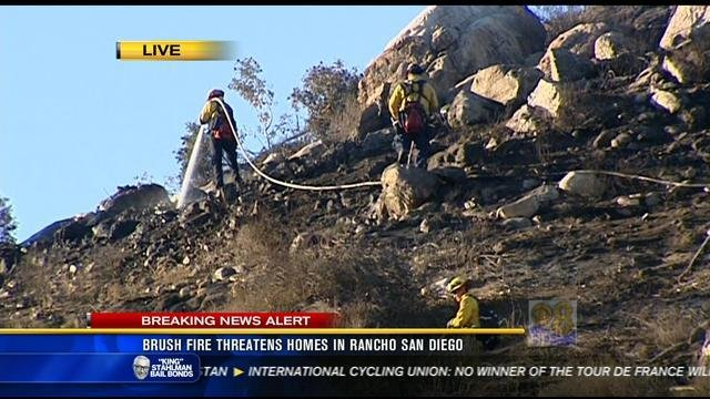 brush fire threatens homes  rancho san diego cbs news  san diego ca news station kfmb