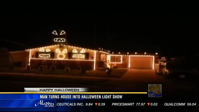 man turns clairemont house into halloween light show
