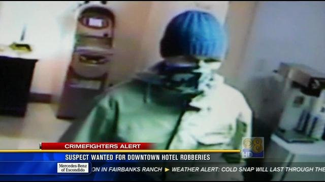 SAN DIEGO (CBS 8)   San Diego Police Are Searching For A Suspect Wanted For  A Pair Of Hotel Robberies Downtown.