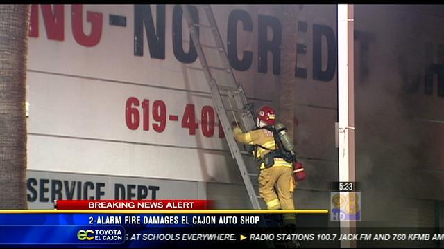 2 Alarm Fire Damages El Cajon Auto Shop CBS News 8 San Diego CA News Sta