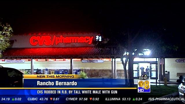 rancho bernardo cvs pharmacy robbed at gunpoint - cbs news 8 - san diego  ca news station