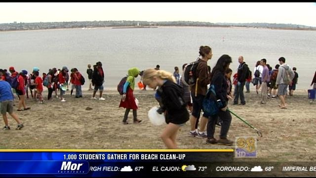 People Cleaning The Beach Gather For Beach Clean up
