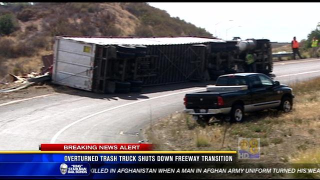 Overturned Trash Truck Shuts Down Freeway Transition Cbs News 8 San Diego Ca News Station