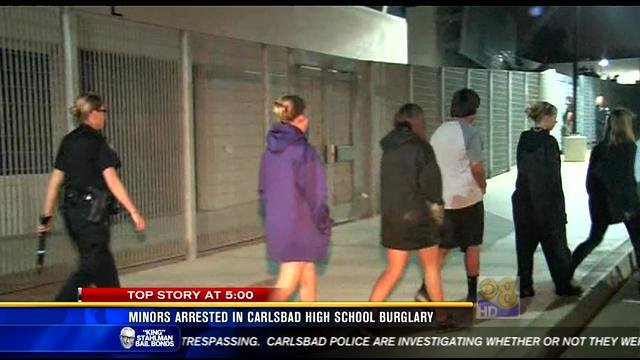 minors arrested in carlsbad high school burglary