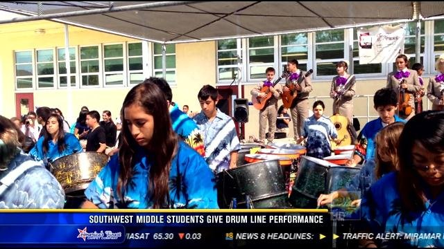 Southwest Middle School Students Give Drum Line