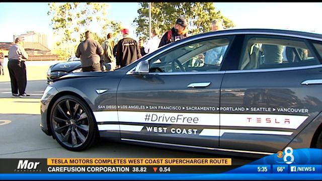 Tesla motors completes west coast supercharger route cbs for Worldwide motors san diego ca