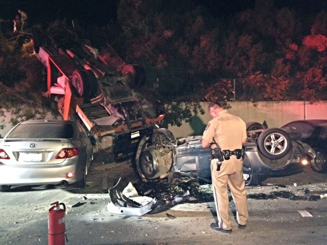 Dui Suspected After 2 Cars Fly Off I 5 Freeway Cbs News 8 San
