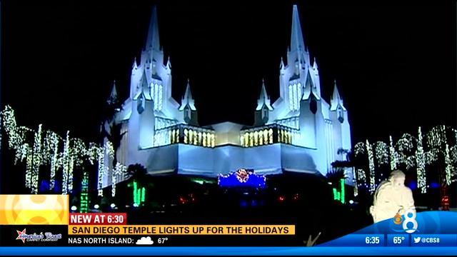 San Diego temple lights up for the holidays - CBS News 8 - San ...