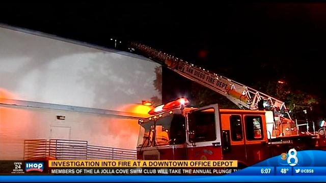 SAN DIEGO (CBS 8)   The Cause Of A Fire In A Downtown Office Depot Is Under  Investigation Wednesday.