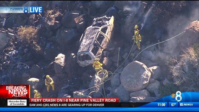 6 injured in fiery crash in pine valley - cbs news 8