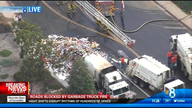 Trash Truck Fire Closes Road In Mira Mesa Cbs News 8