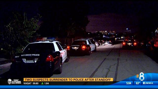 2 suspects surrender to police after standoff - CBS News 8 ...
