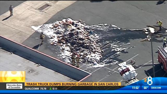 trash truck dumps burning garbage in san carlos cbs news 8 san diego ca news station kfmb. Black Bedroom Furniture Sets. Home Design Ideas