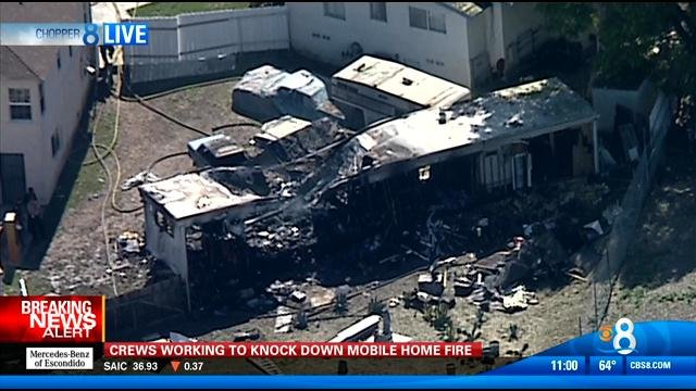 Fire Guts Mobile Home In Valencia Park