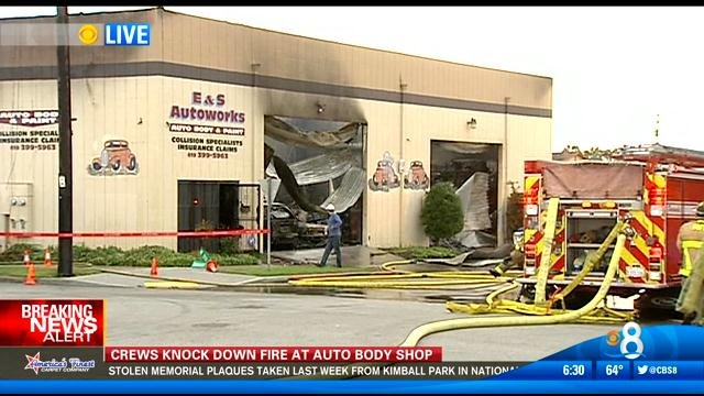 Crews Knock Down Fire At Auto Body Shop Cbs News 8 San Diego Ca News Station Kfmb Channel 8