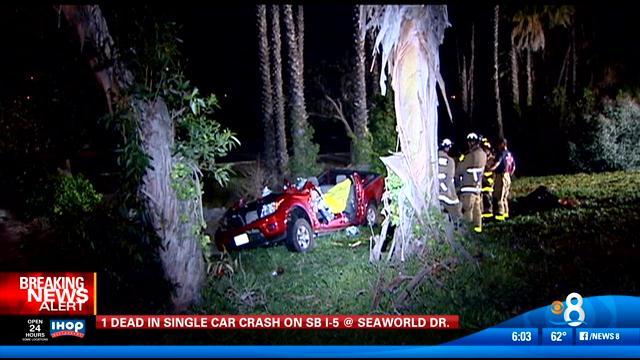 Fatal single car crash on SB I-5 at SeaWorld Drive - CBS