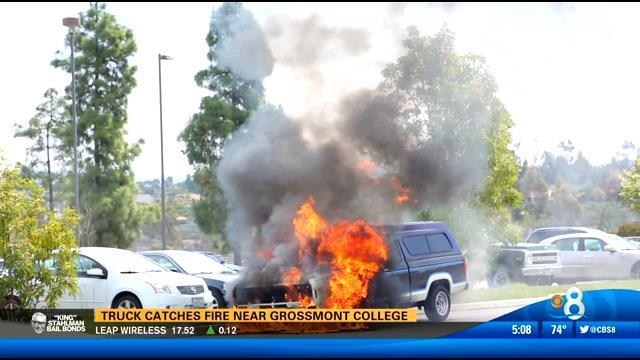 Truck Catches Fire Near Grossmont College Cbs News 8