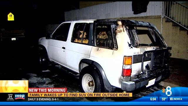 Suv On Fire Outside Logan Heights Home Cbs News San Diego