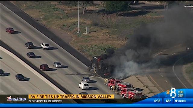rv fire ties up traffic in mission valley - cbs news 8 - san diego  ca news station