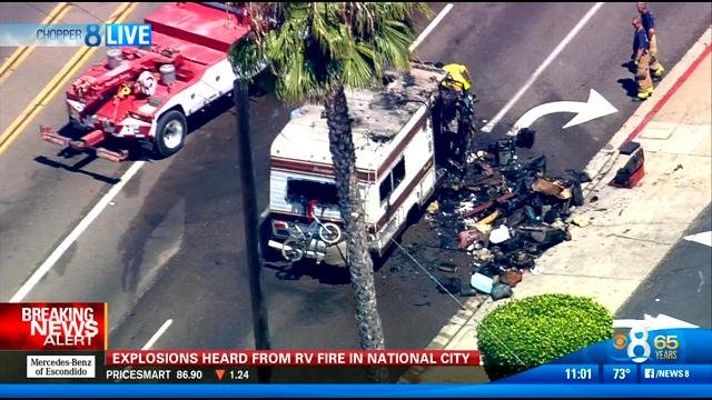 Explosions heard from rv fire in national city cbs news for National motors san diego