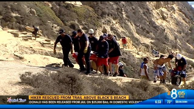 hiker rescued from trail above black u0026 39 s beach