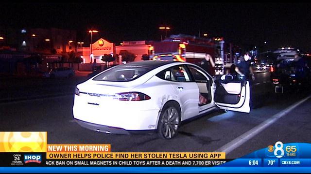 Owner helps police find her stolen Tesla using app - CBS ...