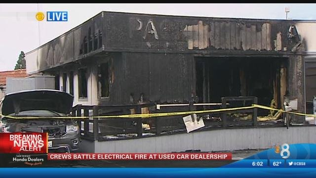 Electrical fire breaks out at honda dealership cbs news for Honda dealership san diego ca