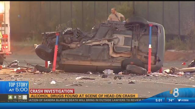 alcohol  drugs found at scene of head-on crash - cbs news 8 - san diego  ca news station