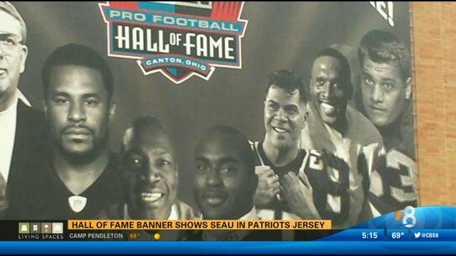 0d8cf8082 Hall of Fame banner shows Seau in Patriots jersey - CBS News 8 - San Diego