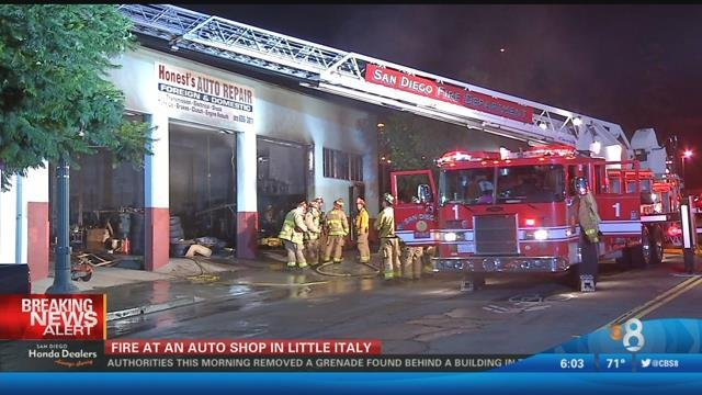 Fire destroys auto repair shop in little italy cbs news for Worldwide motors san diego ca