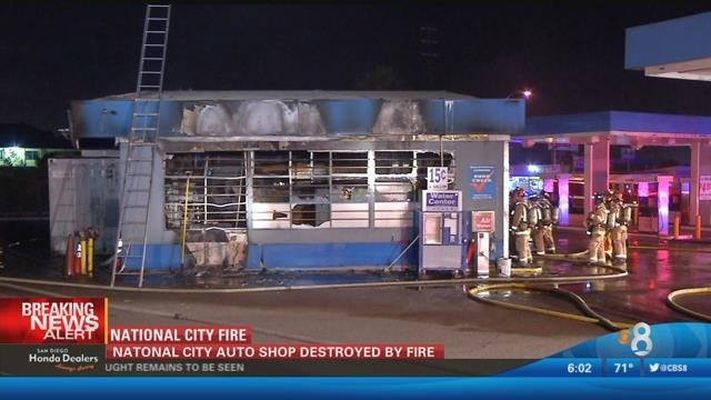 National City Auto Repair Shop Destroyed By Fire CBS News 8 San Diego CA