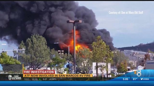 atf now involved in san marcos rv fire - cbs news 8