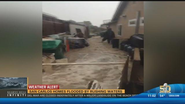 San Carlos Homes Flooded By Rushing Waters Cbs News 8