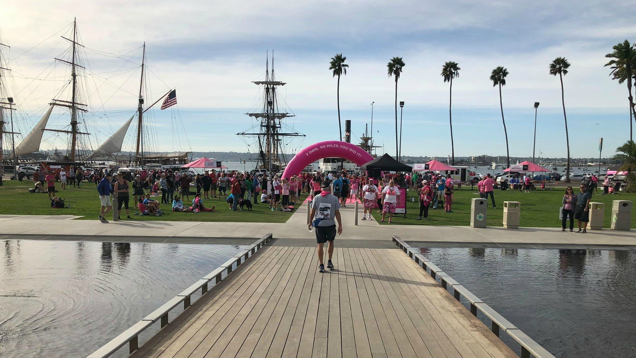 The finish line complete with an incredible view, as walkers cross the pond in front of the Star of India. (Photo by Matt Baylow)