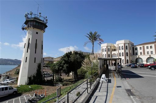 FILE - In this Sept. 21, 2010 file photo is the main entrance way to San Quentin State Prison where the state's death row is located in San Quentin, Calif. (AP Photo/Eric Risberg, File)