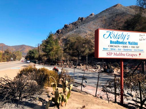 The sign is all that remains of Kristy's Roadhouse Malibu restaurant, Sunday, Nov. 11, 2018, after flames tore across hillsides in canyon areas in Agoura Hills, Calif. Strong Santa Ana winds returned to Southern California on Sunday, fanning a huge wildfi